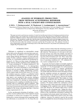 ANALYSIS OF HYDROGEN PRODUCTION FROM METHANE AUTOTHERMAL REFORMER